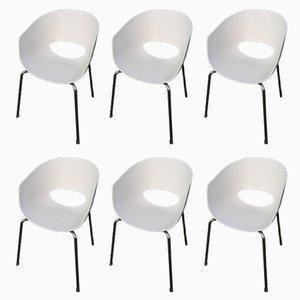 Sillas Orbit italianas grandes blancas de Sintesi, años 90. Juego de 6