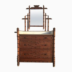 19th-Century French Faux Bamboo Dresser with Mirror