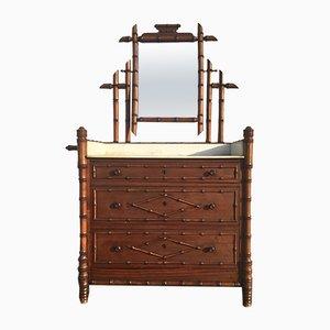 Cómoda francesa de falso bambú con espejo, siglo XIX