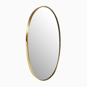 Oval Italian Brass Mirror, 1950s