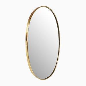 Specchio ovale in ottone, Italia, anni '50