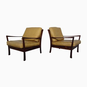 Danish Rosewood Leather Chairs, 1960s, Set of 2