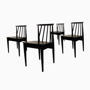 Mid-Century Black Dining Chairs, Set of 4