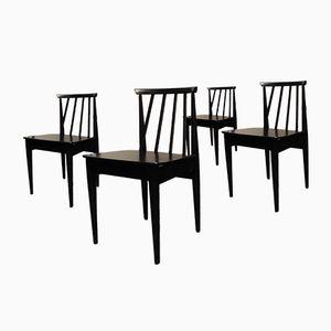 Schwarze Mid-Century Esszimmerstühle, 4er Set