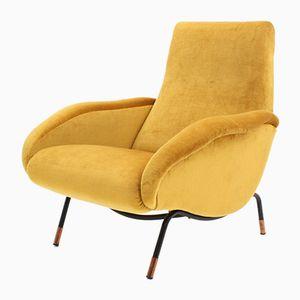 Mid-Century Italian Yellow Velvet Armchair, 1950s