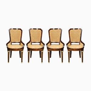 Napoleon III Stühle mit Gestell aus Nussholz & geflochtenem Strohsitz, 1890er, 4er Set