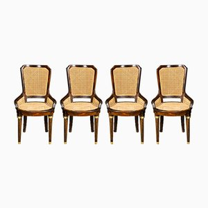 Walnut and Straw Napoleon III Chairs, 1890s, Set of 4