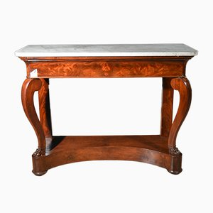 Antique Biedermeier Mahogany and Marble Console
