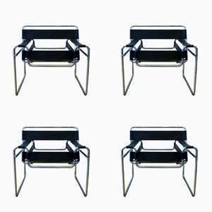Model Wassily Modernist Armchairs by Marcel Breuer, 1970s, Set of 4