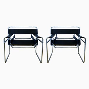 Model Wassily Modernist Armchairs by Marcel Breuer, 1970s, Set of 2