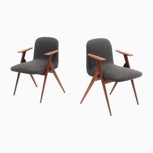 Skandinavische Mid-Century Sessel mit Gestell aus Teak, 2er Set