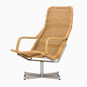 Bamboo & Rattan Swivel Chair by Dirk van Sliedregt, 1960s