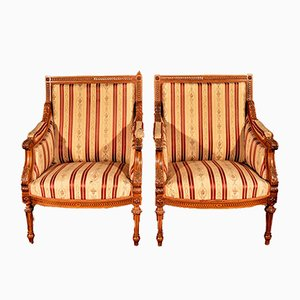 Antique Napoleon III Walnut Armchairs, Set of 2