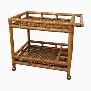 Bamboo Rattan Serving Trolley, 1960s