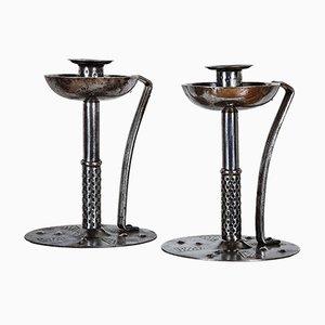 Antike Wiener Secession Kerzenhalter aus Stahl von Hugo Berger, 2er Set