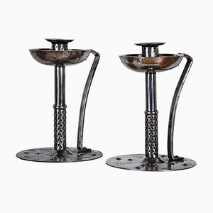 Antique Vienna Secession Steel Candleholders by Hugo Berger, Set of 2