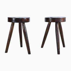 Mid-Century Rustic Wooden Stools, Set of 2