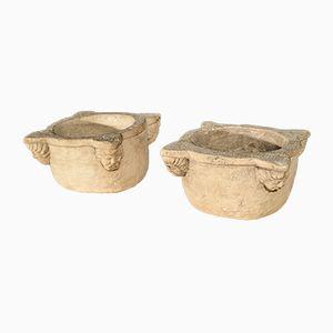 Morteros de farmacia de piedra, década de 1500. Juego de 2