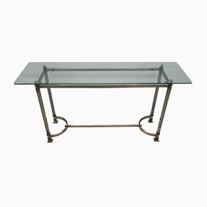 French Brushed Brass & Faceted Glass Console Table, 1980s
