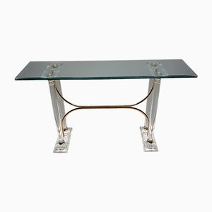 French Lucite, Brass & Faceted Glass Console Table, 1980s