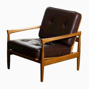 Oak & Brown Leather Kolding Lounge Chairs by Erik Wörtz for Bröderna Anderssons, 1960s, Set of 2