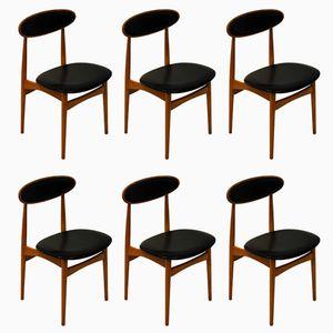Beech & Teak Dining Chairs by Fredrik Kayser for Viken Møbelfabrik, 1960s, Set of 6