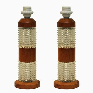 Swedish Teak and Glass Table Lamps, 1960s, Set of 2