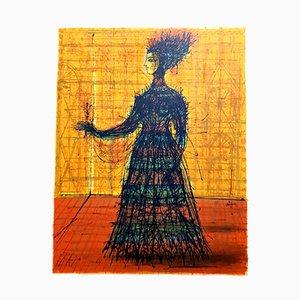 Lithographie Woman par Jean Carzou pour Les Heures Claires, 1965