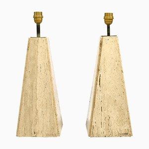 Lámparas de mesa de travertino y latón de Camille Breesch, años 70, Juego de 2