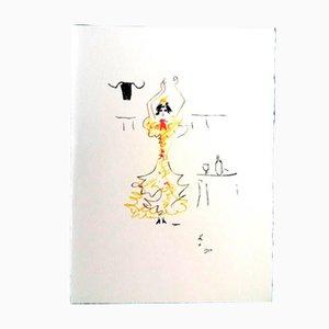 Carmen Lithograph by Jean Cocteau, 1961