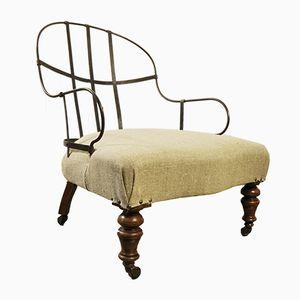 Antiker viktorianischer Stuhl mit Rückenlehne aus Eisen