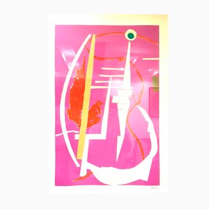 Abstract Pink Composition Lithograph by André Lanskoy, 1960s