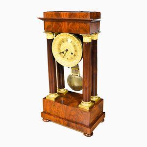 Antique Napoleon III Bronze and Mahogany Fireplace Clock