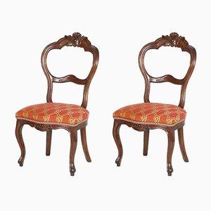Antike italienische Louis Philippe Beistellstühle aus Nussholz, 2er Set