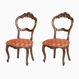 Antique Louis Philippe Italian Walnut Side Chairs, Set of 2