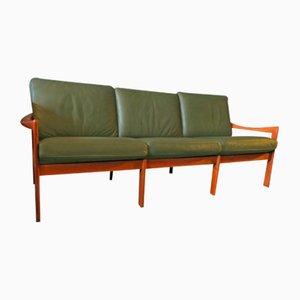 Canapé 3 Places Vintage en Teck & en Cuir par Illum Wikelslø pour Niels Eilersen, 1960s