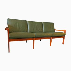 Vintage Teak & Leather 3-Seater Sofa by Illum Wikelslø for Niels Eilersen, 1960s