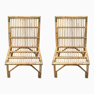 Vintage French Rattan & Brass Chairs, Set of 2