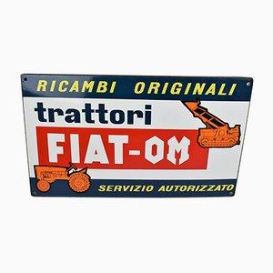 Trattori FIAT-OM Schild aus Porzellan-Emaille, 1970er