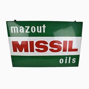 Panneau Mazout Missil Oils Sign en Porcelaine Émaillée, 1971