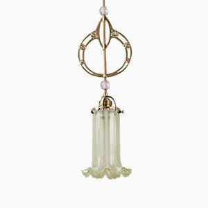 Lampe à Suspension Jugendstil avec Abat-Jour en Verre Opalin, 1900s