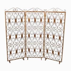 Vintage Italian Gilded Iron 3-Fold Room Divider