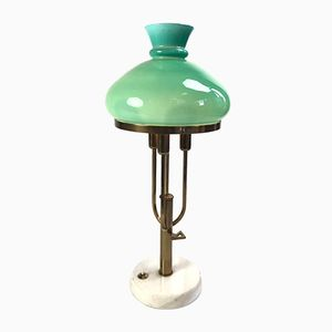 Vintage Table Lamp with Hand-Blown Glass Shade