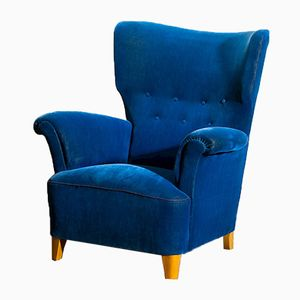 Scandinavian Royal Blue Velvet Wingback Chair, 1940s