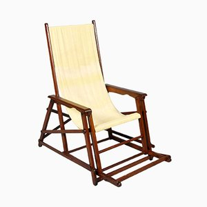 Mid-Century French Folding Canvas Long Chair from Clairitex