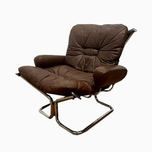 Norwegian Chocolate Leather Easy Chair by Ingmar Relling for Westnofa, 1970s