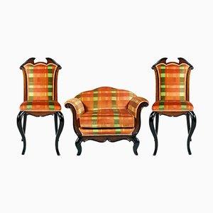 Coppia di sedie e poltrona di Paolo Buffa per Cantù, Italia, anni '30