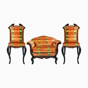 Paar italienische Stühle & Armlehnstuhl von Paolo Buffa für Cantù, 1930er