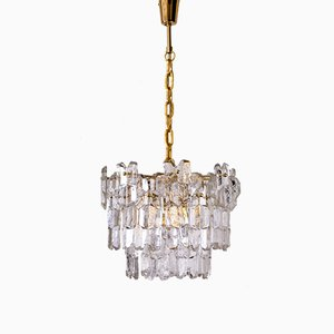 Golden Brass & Glass Palazzo Chandelier by J.T. Kalmar, 1970s