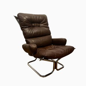 Large Norwegian Chocolate Leather Easy Chair by Ingmar Relling for Westnofa, 1970s